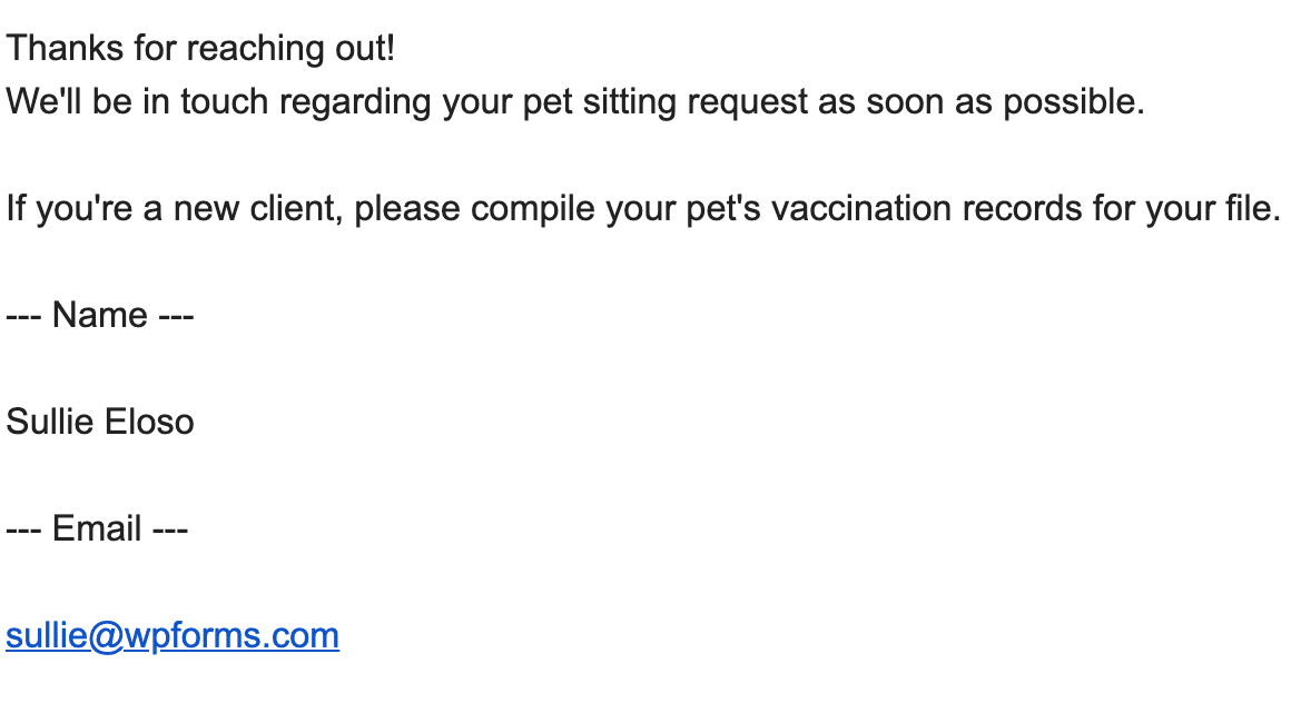 An example of a plain text email notification