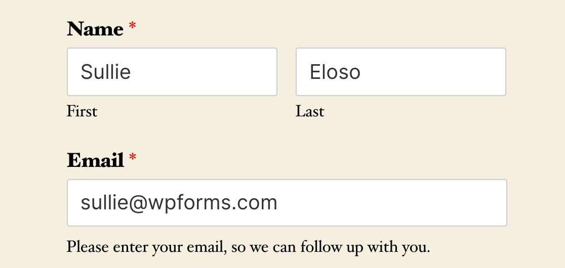 A form with fields pre-filled by default values set by Smart Tags