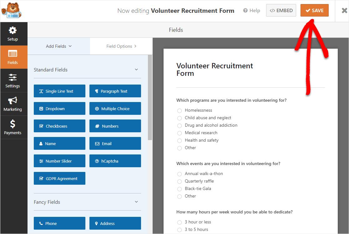 publish volunteer form