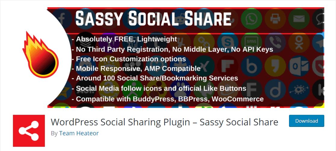 sassy social share best wordpress plugin for social media