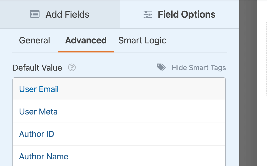 Selecting a Smart Tag to use as the default value of a field