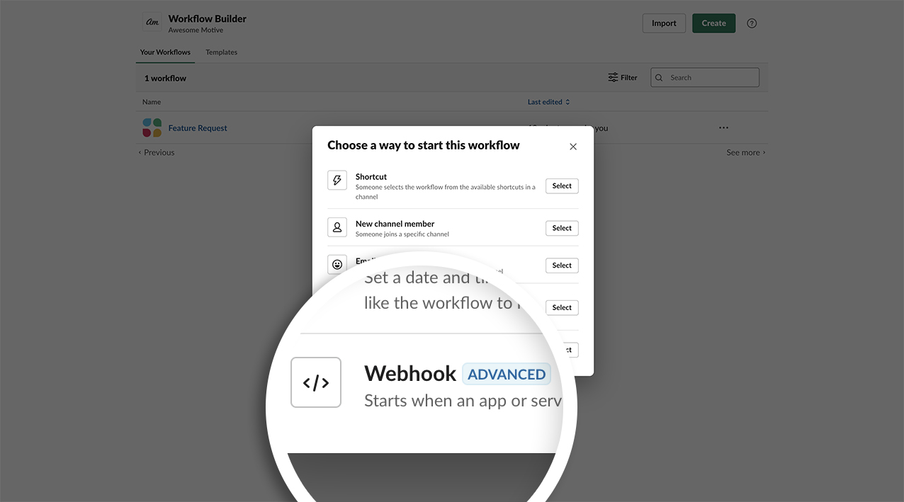 Click Select next to the Webhook option