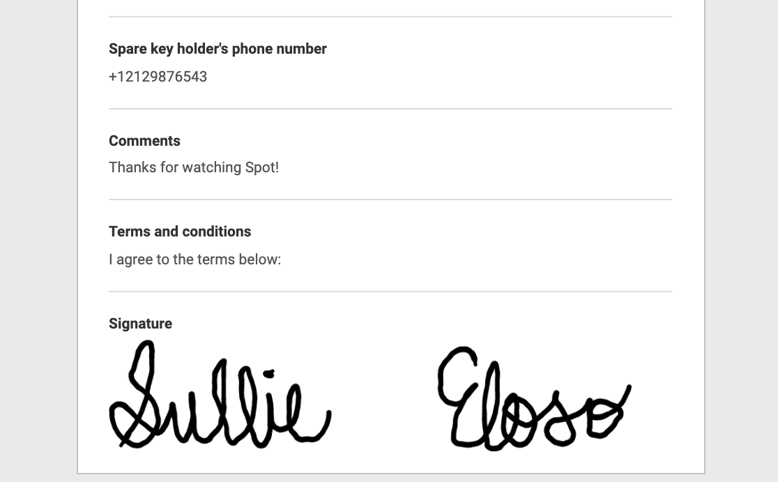 A signature embedded in an email notification