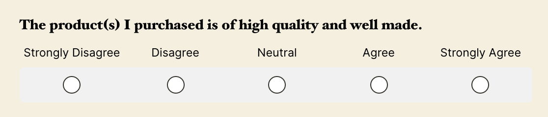An example of a single-row Likert Scale