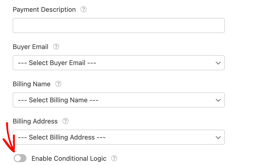 Enabling conditional logic for Square payments in a form
