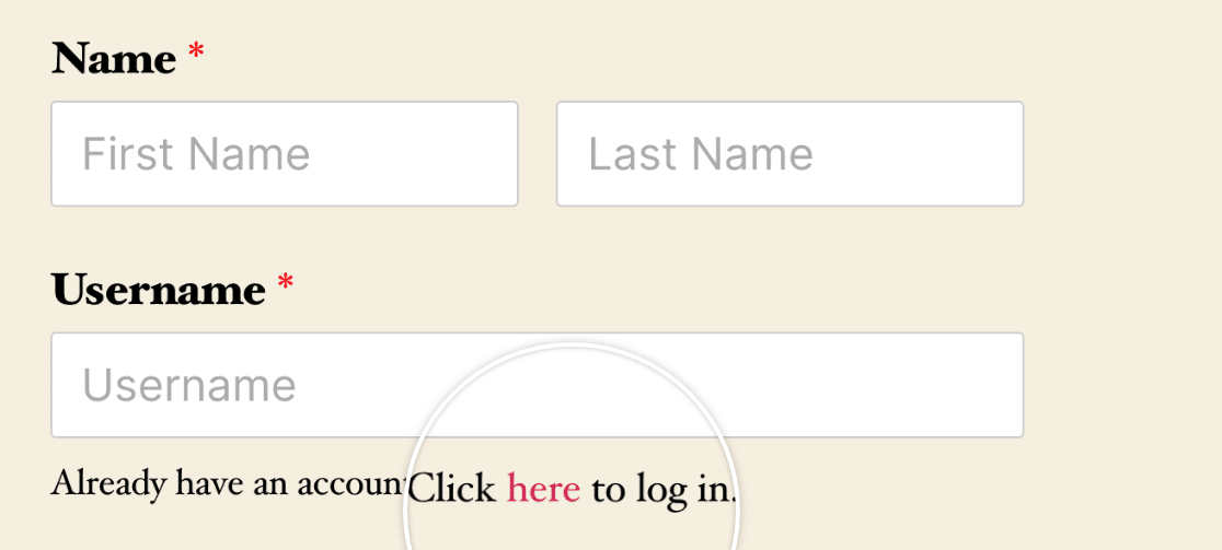 An example of the {url_login} Smart Tag on the frontend