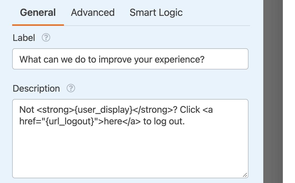 Adding the {url_logout} Smart Tag to a field description