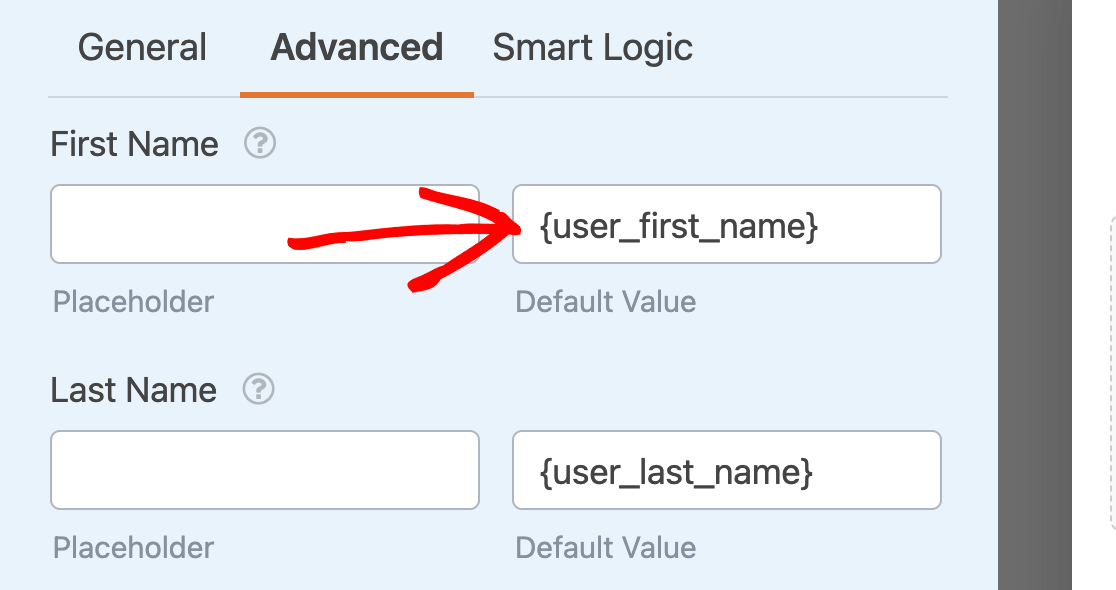 Adding the {user_first_name} Smart Tag as a default value