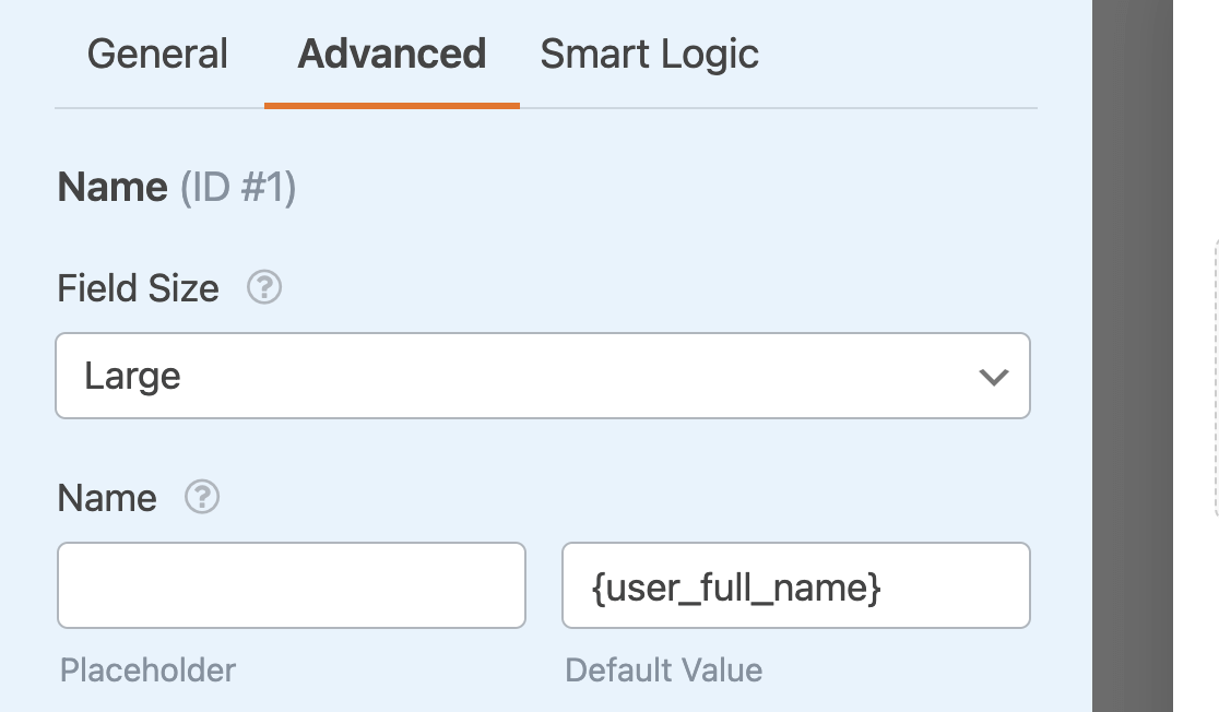 Adding the {user_full_name} Smart Tag as a default value