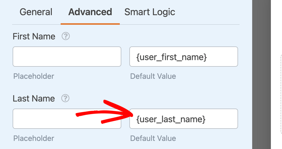 Adding the {user_last_name} Smart Tag as a default value