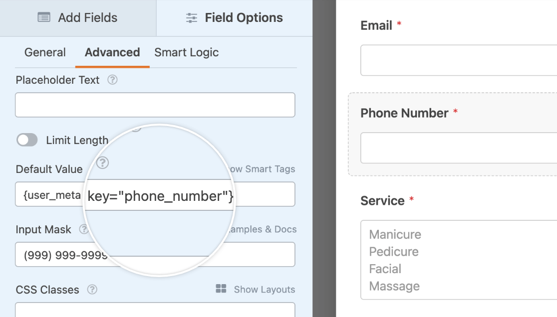 Entering the {user_meta} Smart Tag for a Phone Number custom field