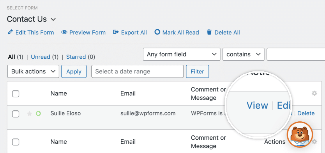 Open an individual entry in WPForms