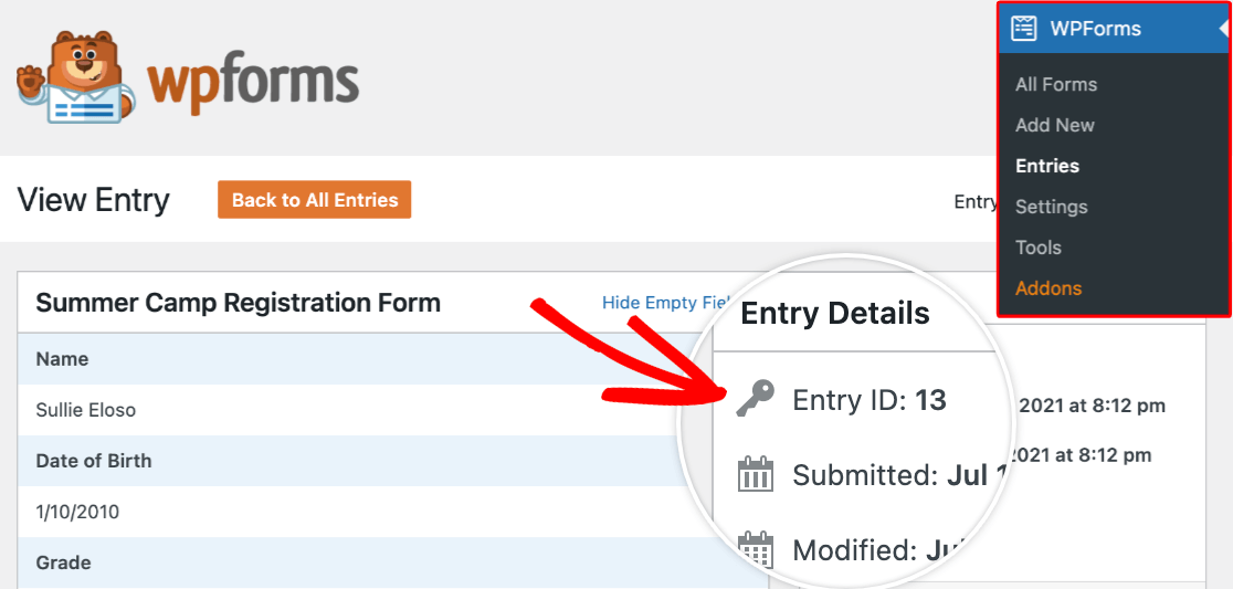 Viewing an entry ID