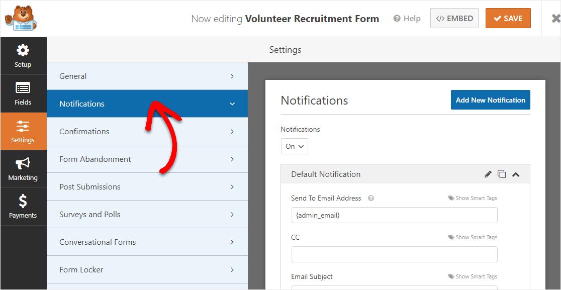 volunteer form notifications settings