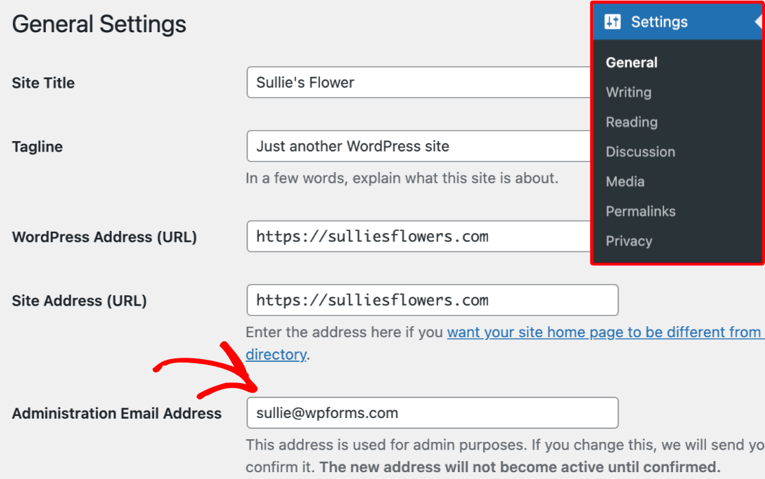 The Administration Email Address setting
