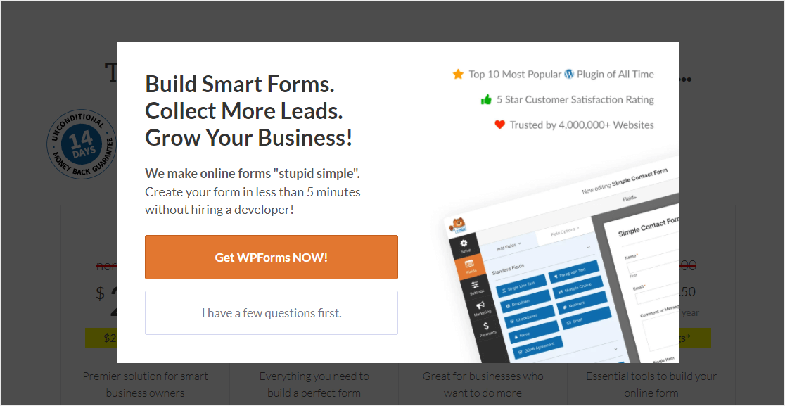 wpforrms example of email signup popup