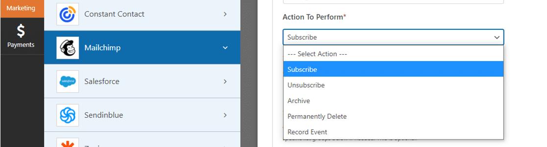 wpforms mailchimp addon available actions