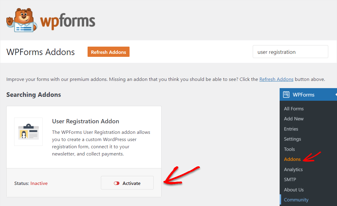 wpforms user registration addon activate to add to any wordpress page