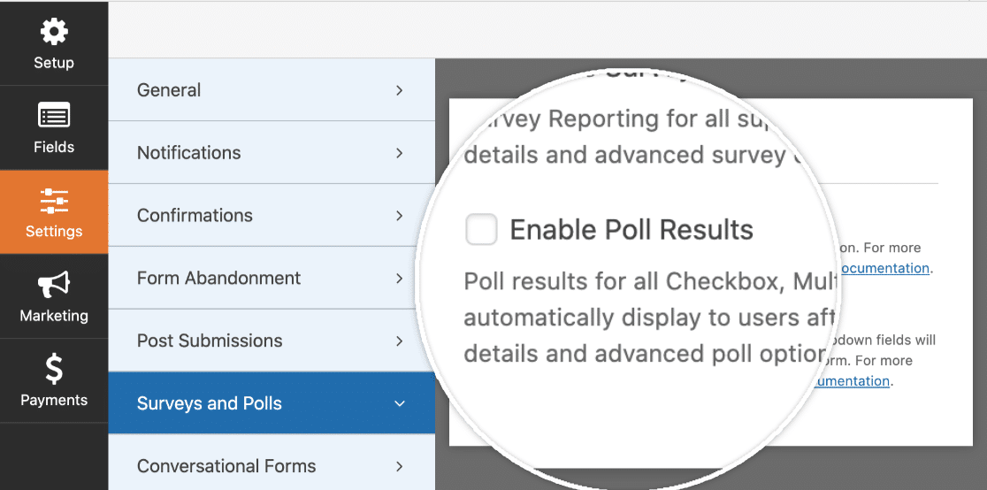 Enable Poll Results for a form