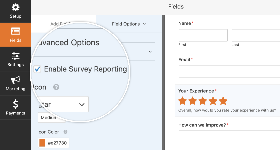 Enable Survey Reporting for an individual field