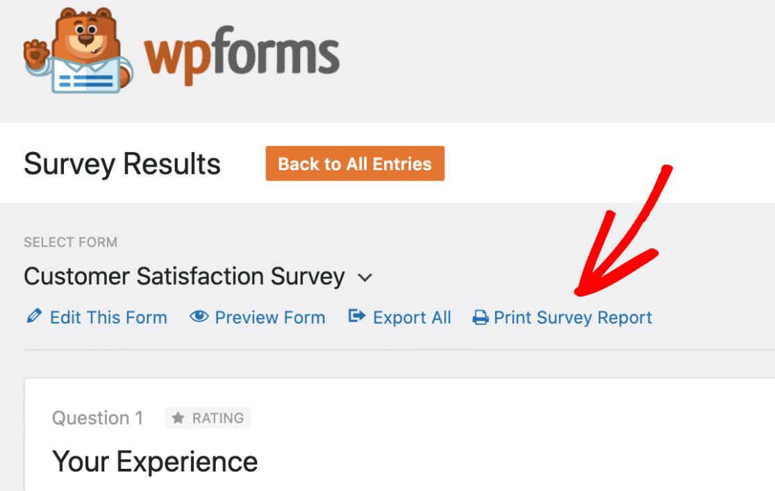 Print survey report in WPForms