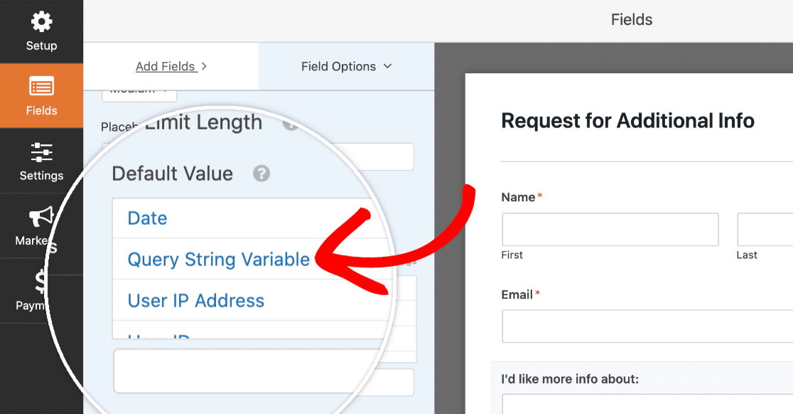 Set default value to query string variable