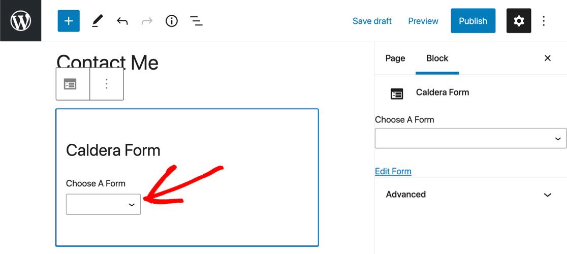 Caldera Forms block editor