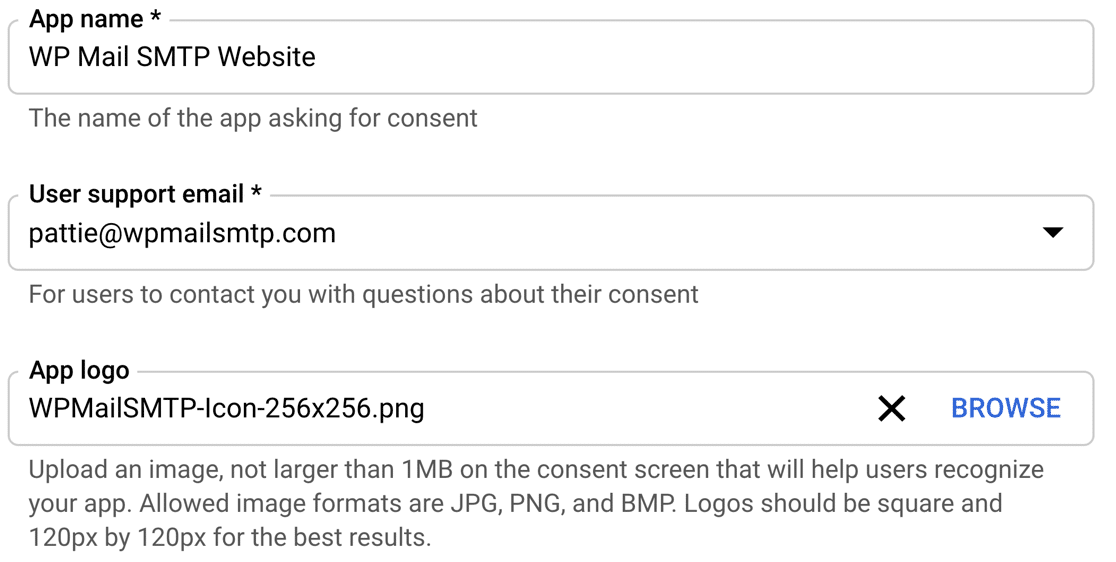 Consent screen settings in Google Cloud