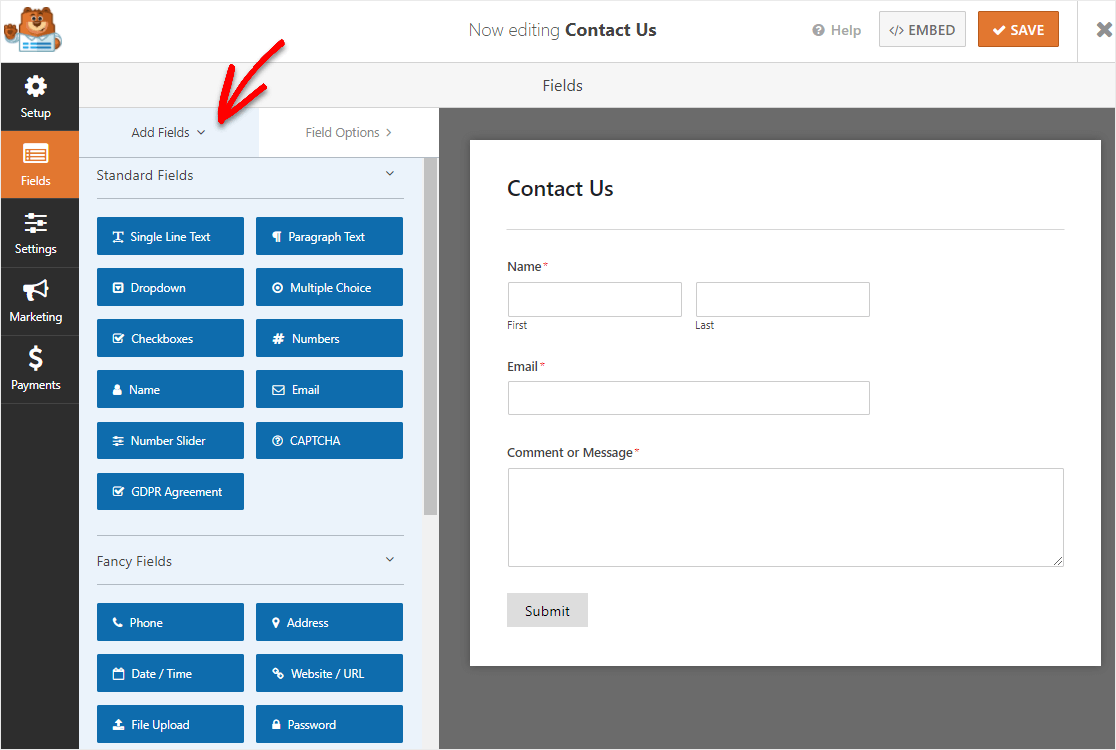 fields on a simple contact form before adding map