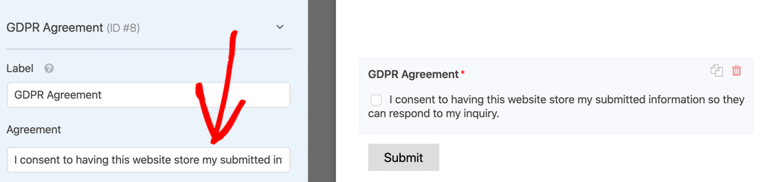 GDPR agreement in WPForms