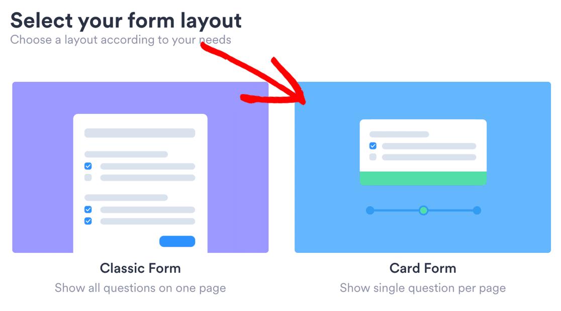 JotForm conversational Card layout