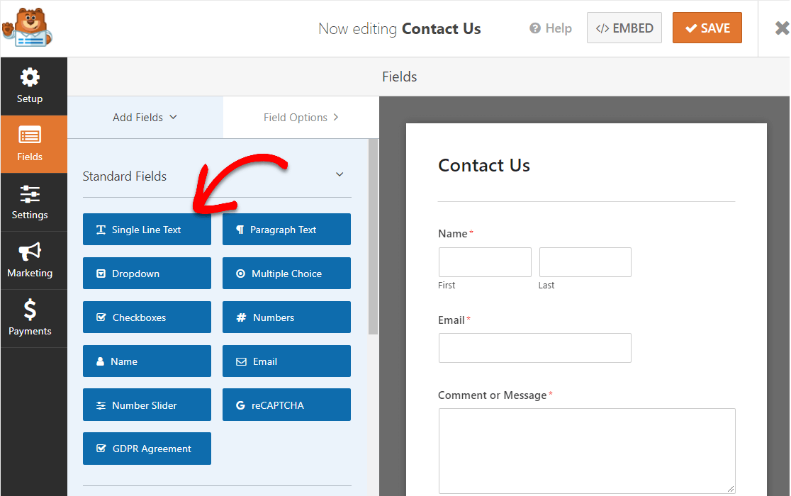 single line text for contact form with map