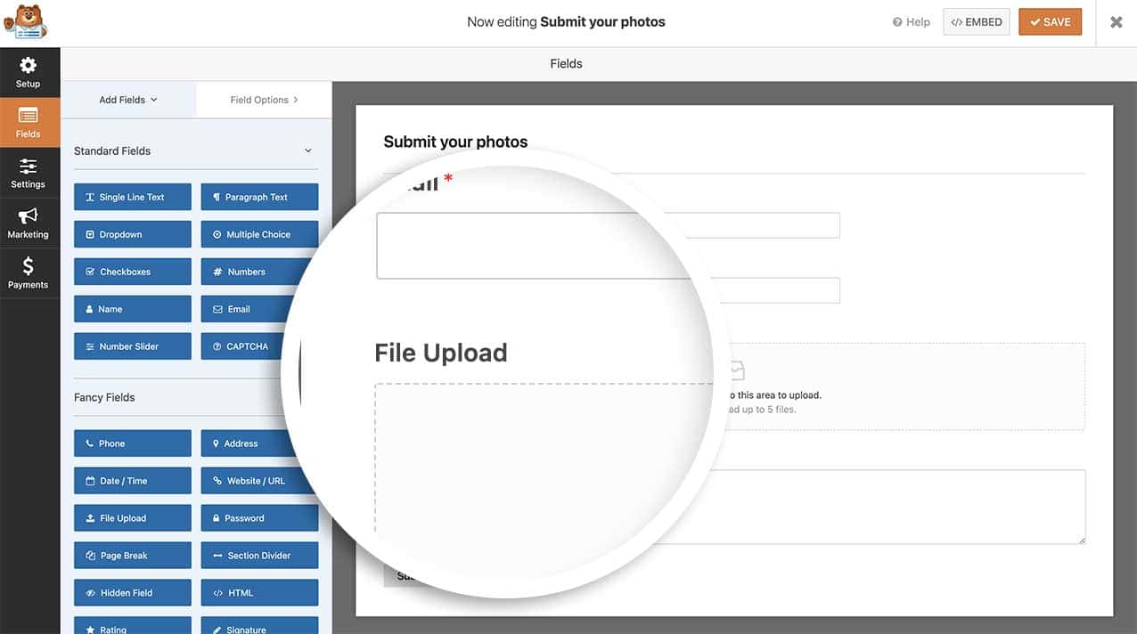 Creeate your form and add your file upload field.