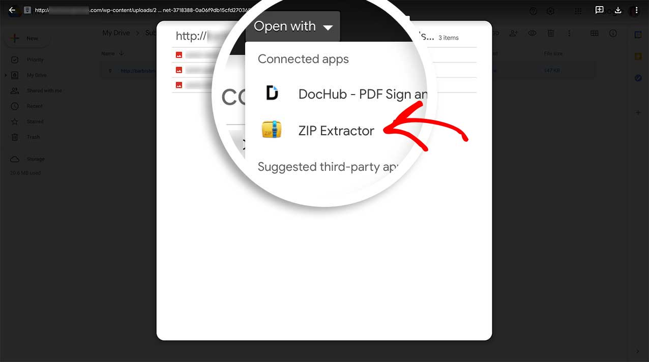 Double-click the file that was send and select Open With and choose Zip Extractor