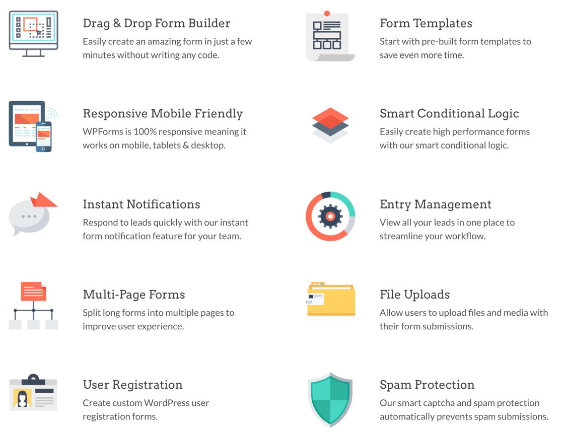 WPForms features