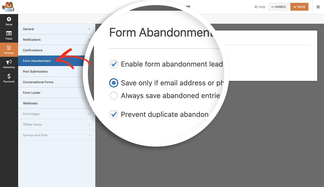 enable the form abandonment for the form