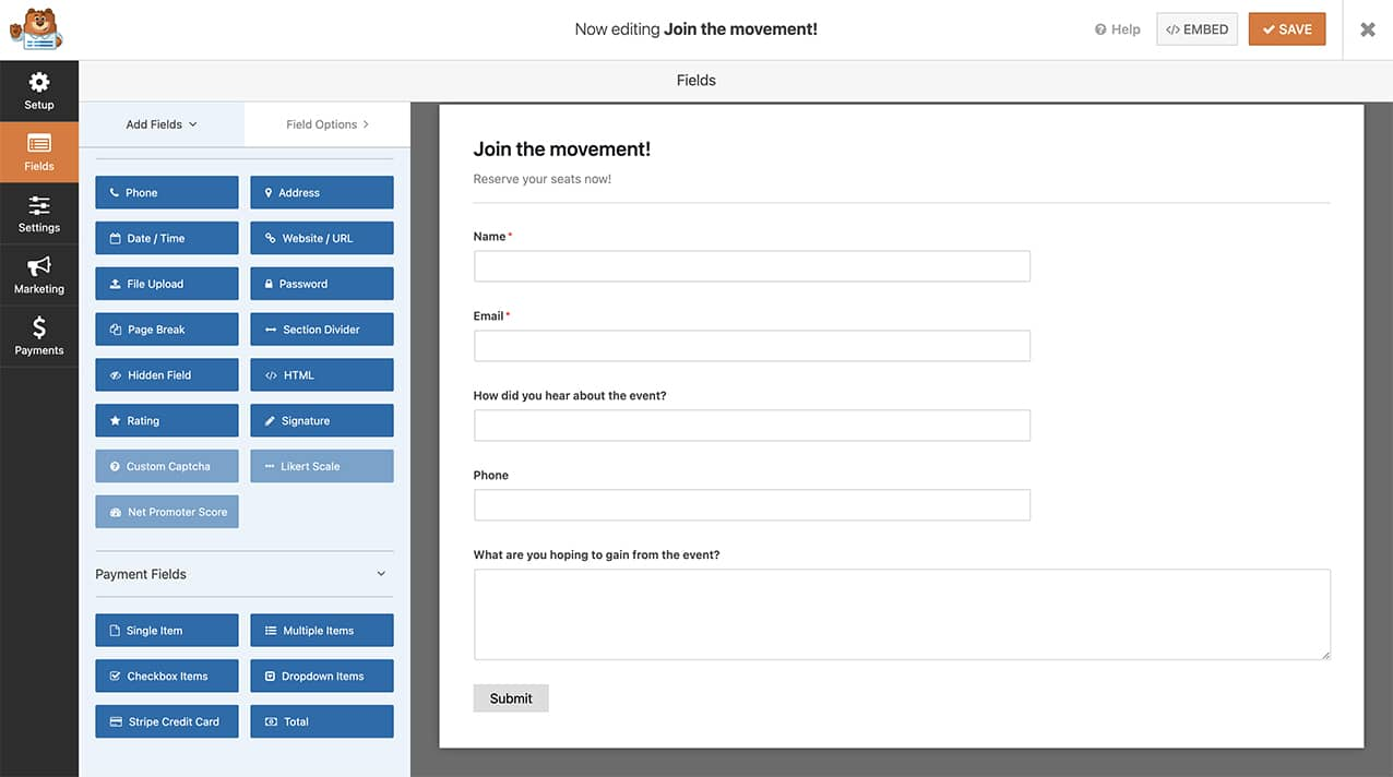 create your form and add your fields