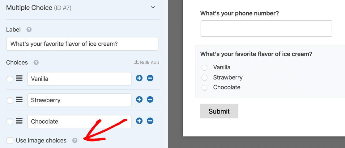 WPForms multiple choice image checkbox