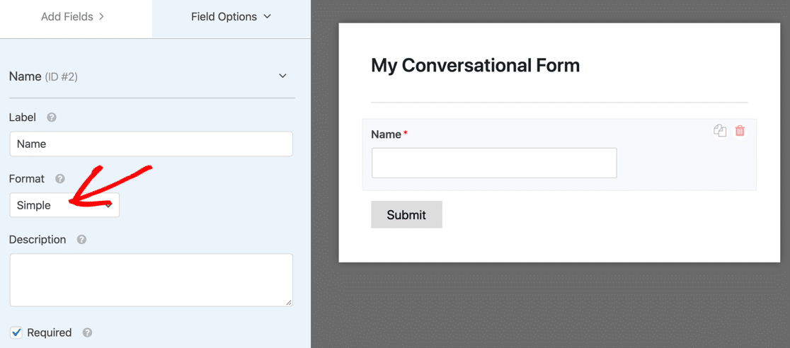 WPForms simple conversational form field for name
