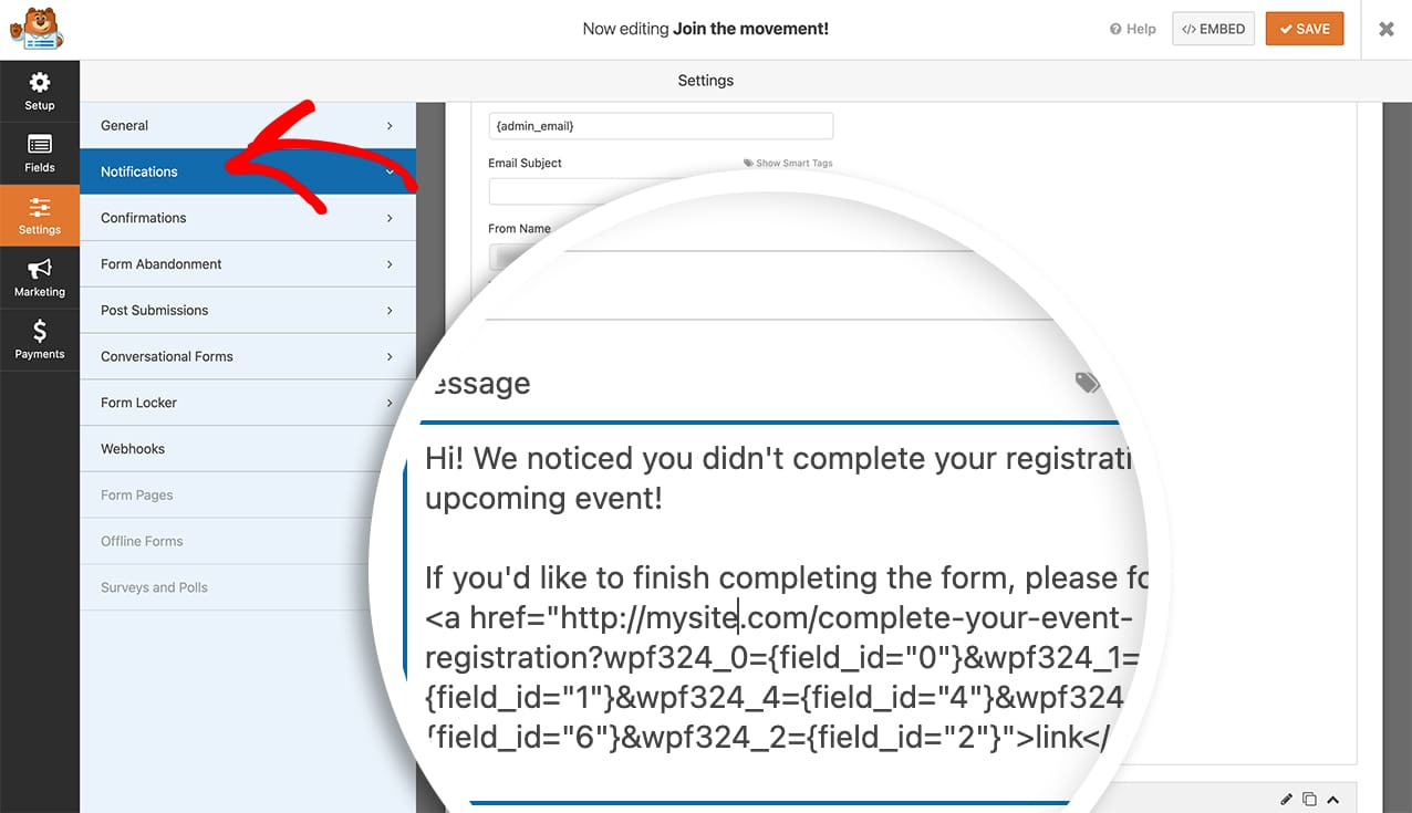 add the save and continue link to your email notification by using the query strings for the form fields in your link