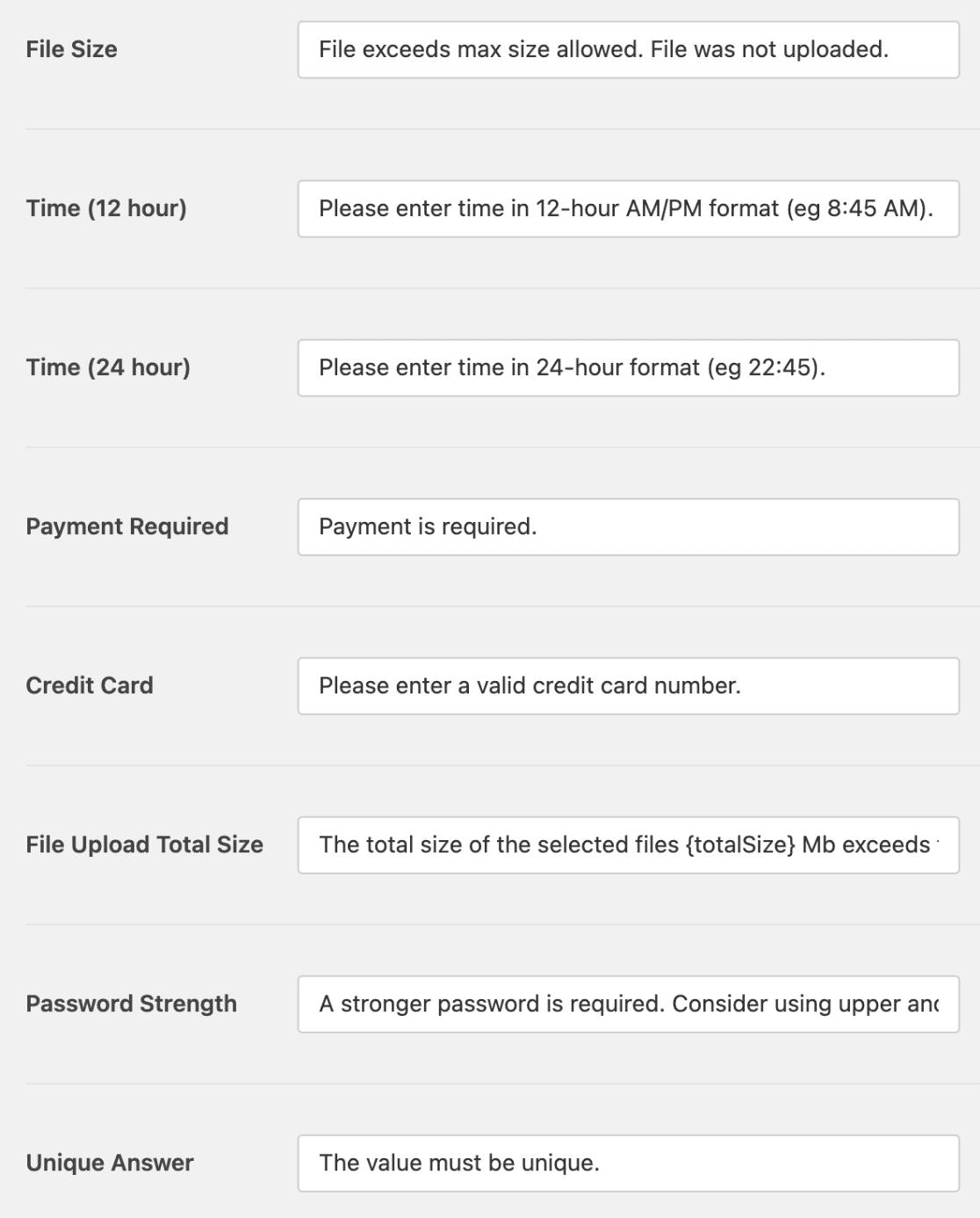 Field validation message settings