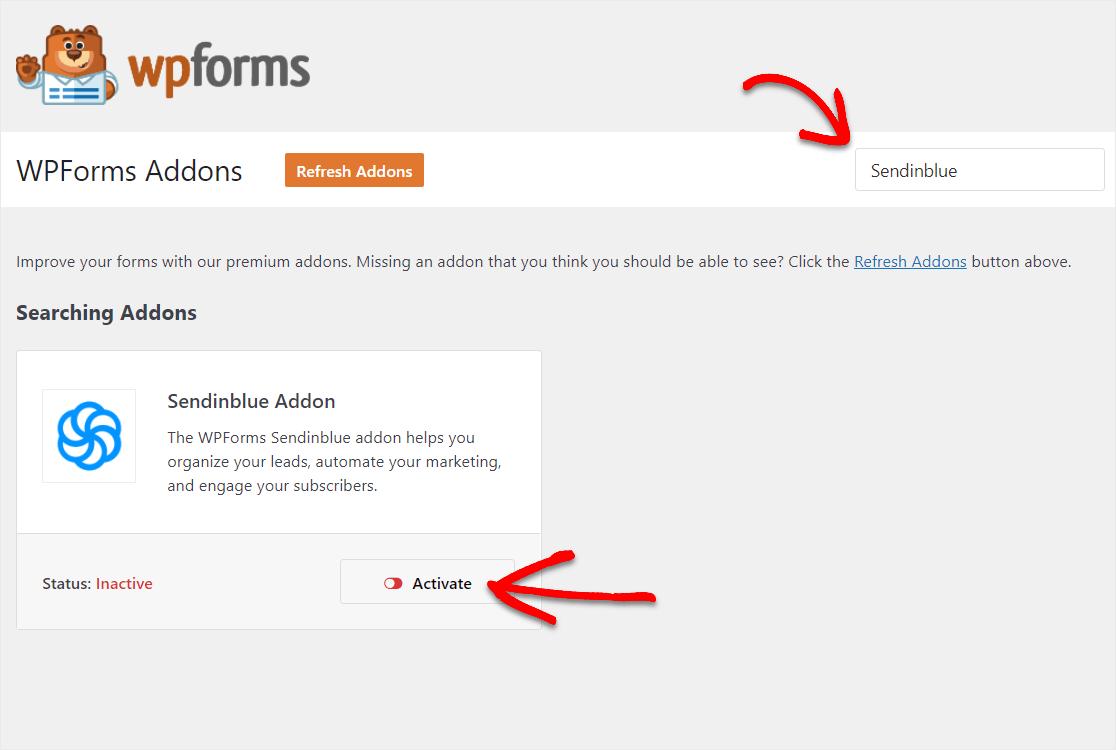 activate the sendinblue addon in wordpress