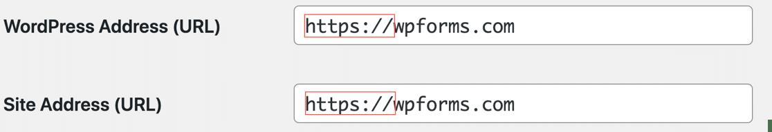 Change SSL URL in WordPress settings