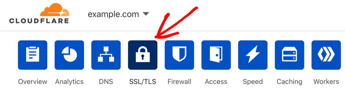 Cloudflare SSL menu