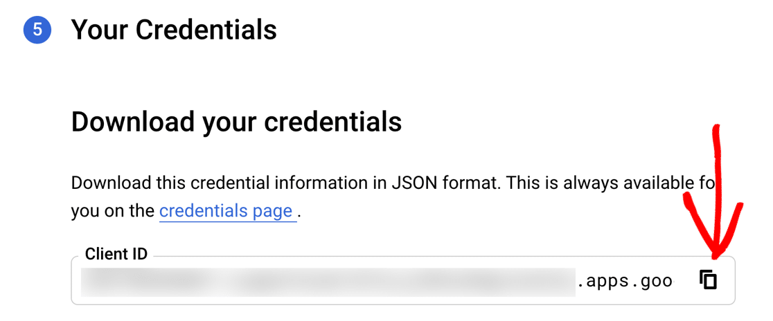 Copy Client ID in Google Cloud Console