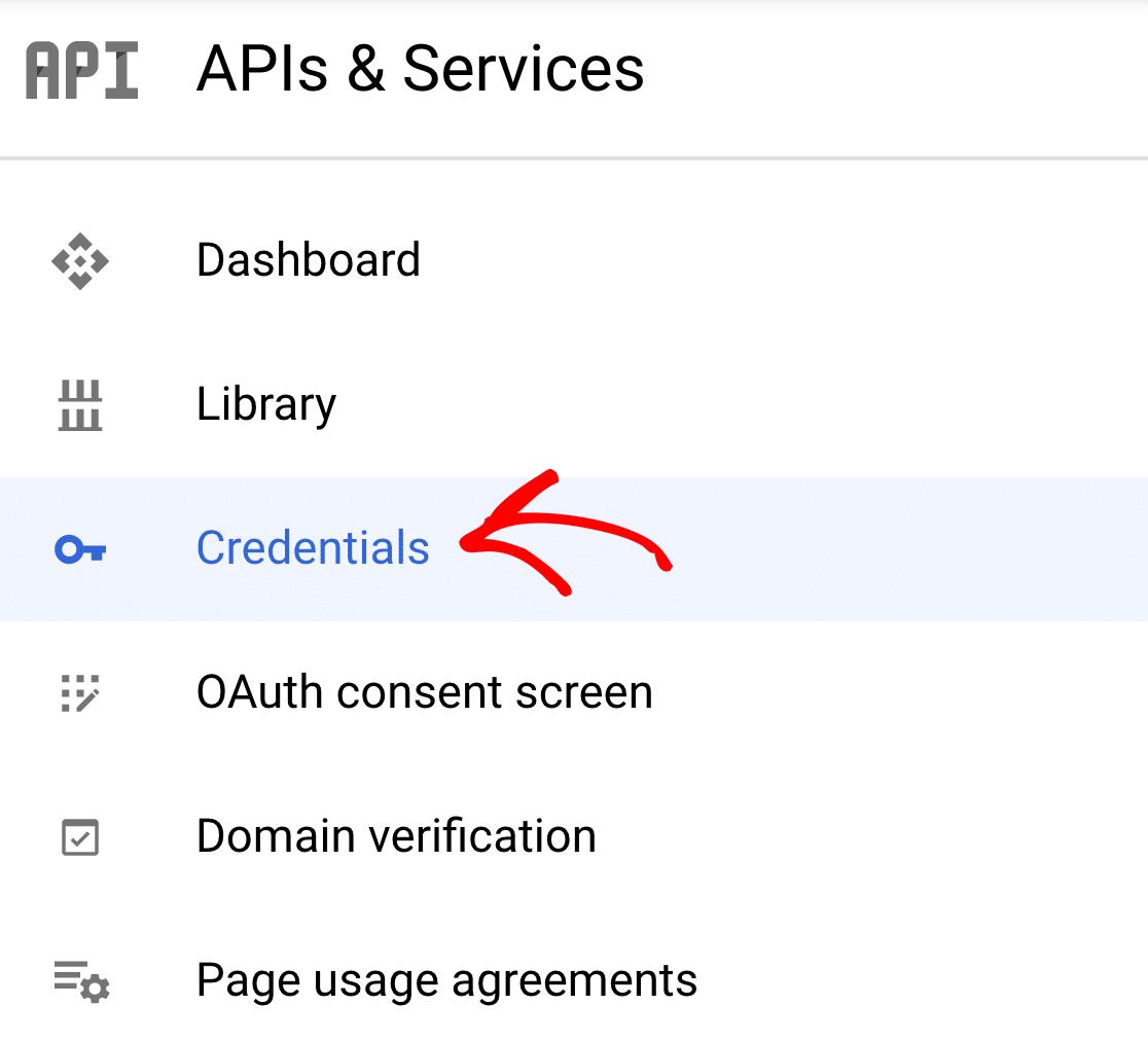 Credentials screen in Cloud Console