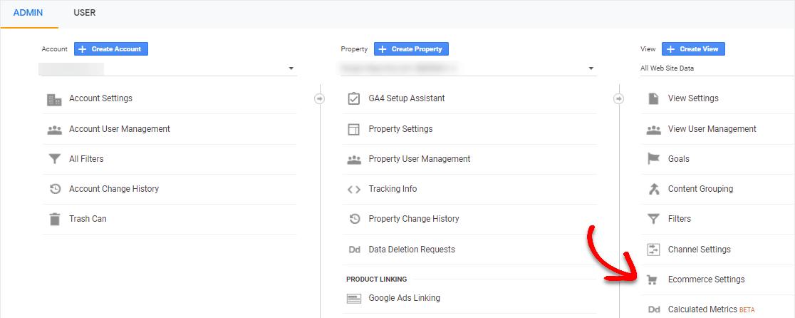 ecommerce settings in google analytics