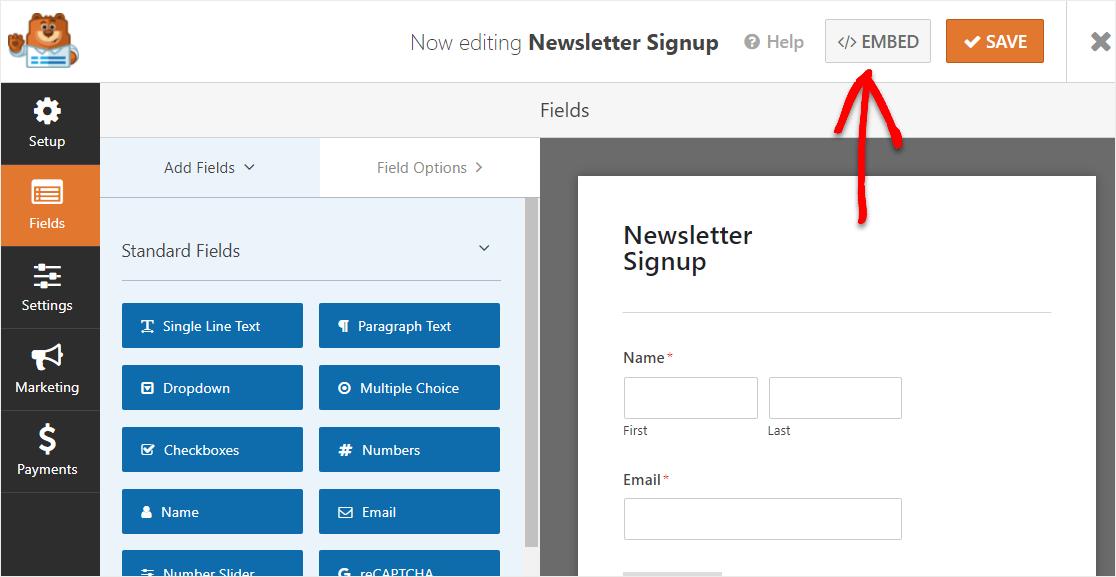 embed sendinblue form in wordpress