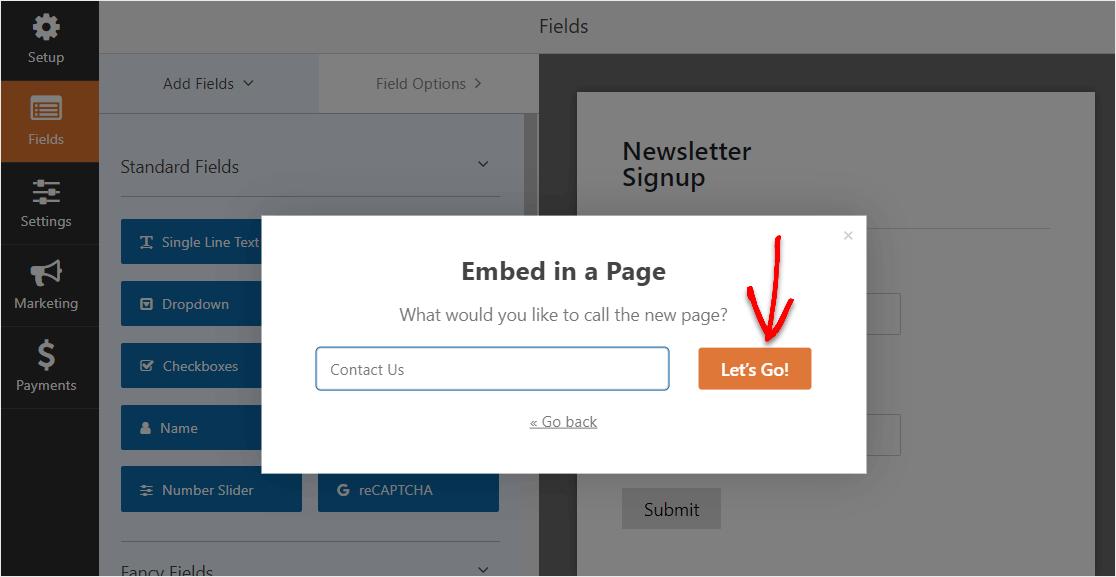embed sendinblue form into wordpress button