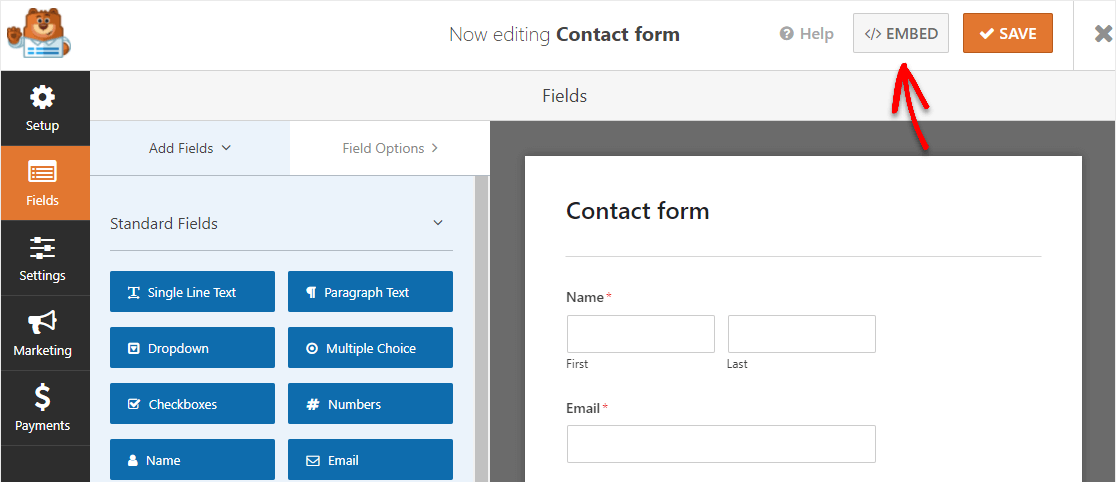 embed the contact form